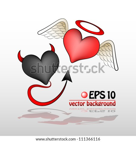 vector illustration of valentine heart angel vs demon one - stock vector