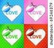 vector illustration of valentine's day card. Heart. Sticker - stock vector