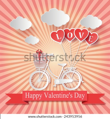 Vector illustration of Valentines day. Abstract paper love hearts. - stock vector