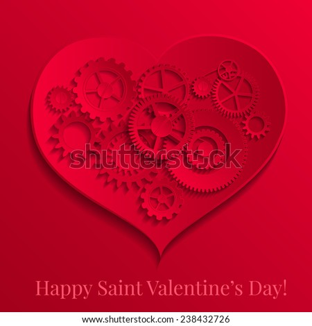 Vector illustration of Valentines day greeting card with paper hearts - stock vector
