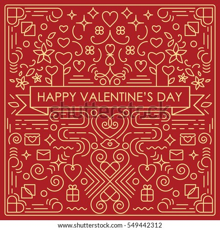 Vector illustration valentines day greeting card stock vector hd vector illustration of valentines day greeting card with single weight line art swirls and decorative elements m4hsunfo