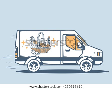 Vector illustration of van free and fast delivering basket with food to customer on blue background. Line art design for web, site, advertising, banner, poster, board and print.   - stock vector