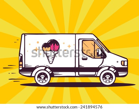 Vector illustration of van free and fast delivering ice cream to customer on yellow background. Line art design for web, site, advertising, banner, poster, board and print. - stock vector