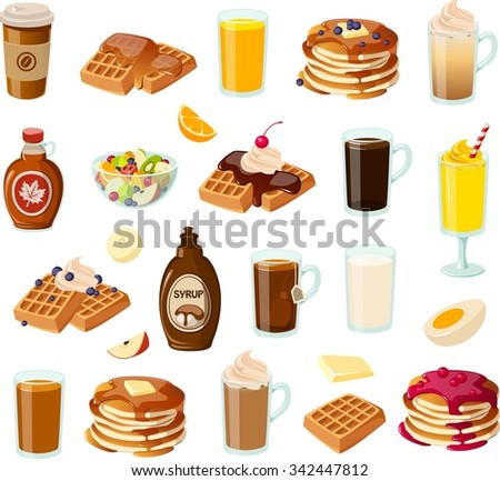 Vector illustration of various American breakfast items. - stock vector