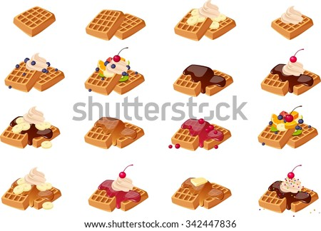 Vector illustration of various American waffles. - stock vector