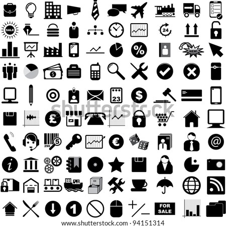 Vector illustration of various business, financial, office and web icons. - stock vector