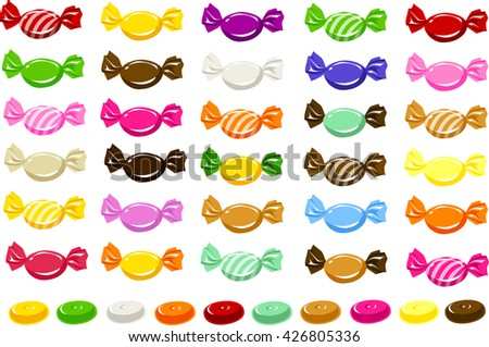 Vector illustration of various candies in different wrappers. - stock vector
