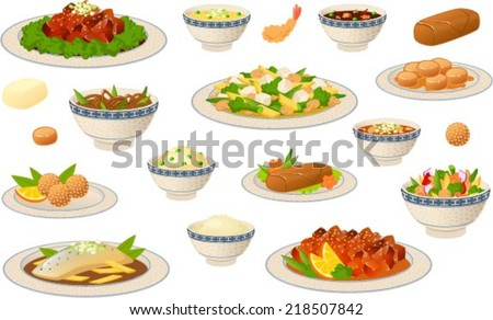 Vector illustration of various chinese food dishes.