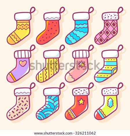 Vector illustration of various Christmas decorated socks on light background. Bright color. Hand draw line art design for web, site, banner, poster, board, postcard, print and greeting card.  - stock vector