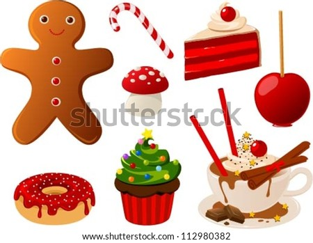 Vector illustration of various christmas food items - stock vector