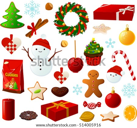 Vector illustration of various Christmas items.