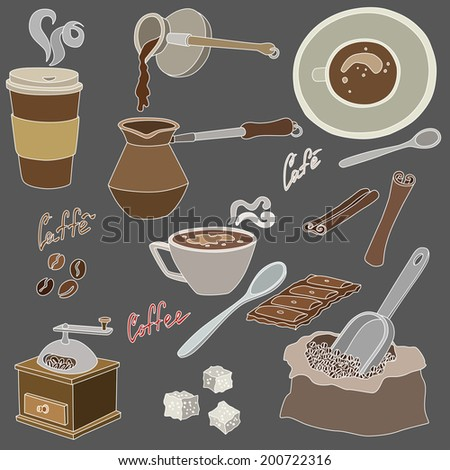 vector illustration of various coffee accessories