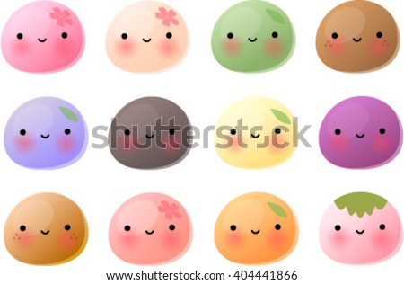 Vector illustration of various cute japanese mochi. - stock vector