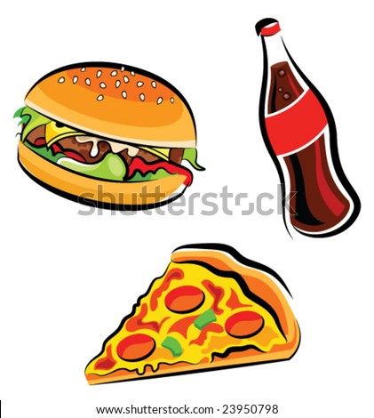 Vector illustration of various fast food (burger, cola and pizza slice) - stock vector
