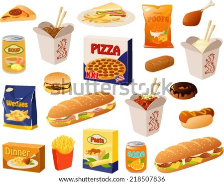 Vector illustration of various fast food items. - stock vector
