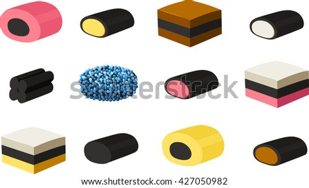 Vector illustration of various kinds of British licorice. - stock vector