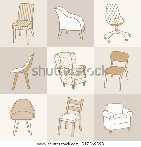 Vector Illustration Of Various Kinds Of Chairs. Hand Drawn Style