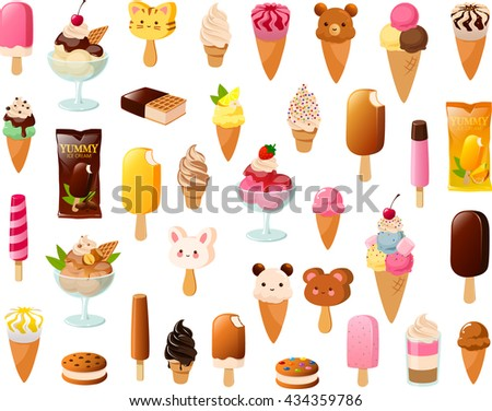 Vector illustration of various kinds of ice cream. - stock vector