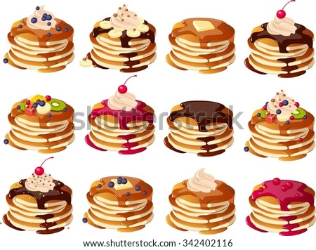 Vector illustration of various kinds of pancakes. - stock vector