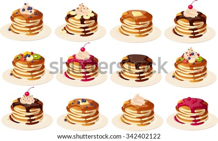 Vector illustration of various kinds of pancakes on a plate. - stock vector