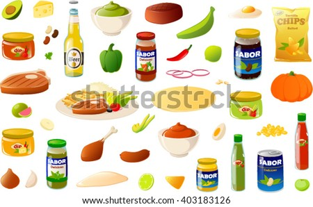 Vector illustration of various mexican/ south american food items. The word 'sabor' means 'flavor' and the word 'delicioso' means delicious. - stock vector