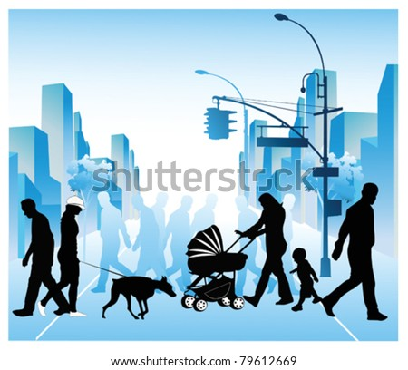 Vector illustration of various people walking through a city - stock vector