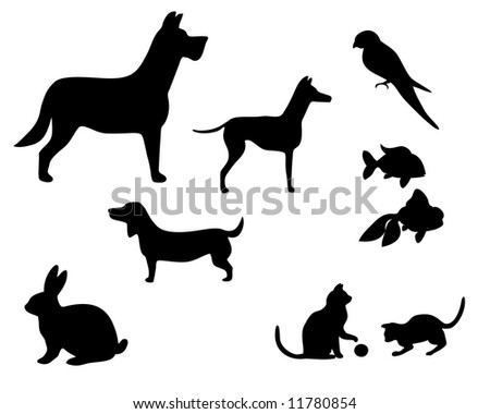 vector illustration of various pets silhouettes - stock vector