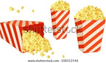 Vector illustration of various pop corn boxes. - stock vector