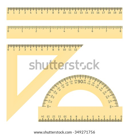 Vector illustration of various rulers and protractor - stock vector