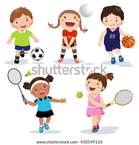 Vector illustration of various sports kids on a white background - stock vector