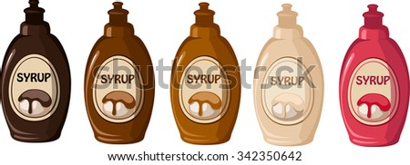 Vector illustration of various syrups - stock vector