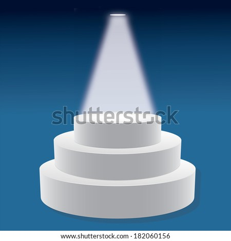 Vector illustration of Vector empty  3-D white podium on blue background  - stock vector