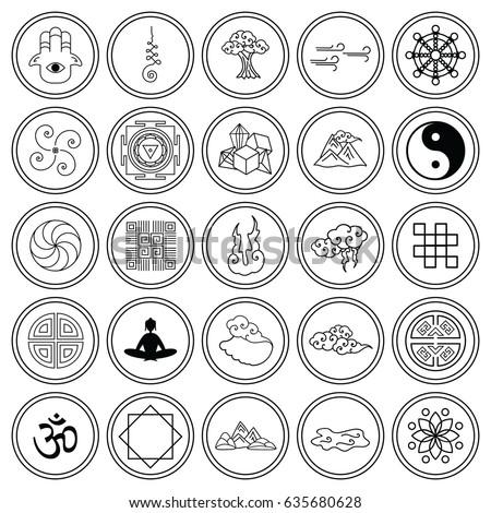 Vector Illustration Vector Icons Set Asian Stock Vector 635680628