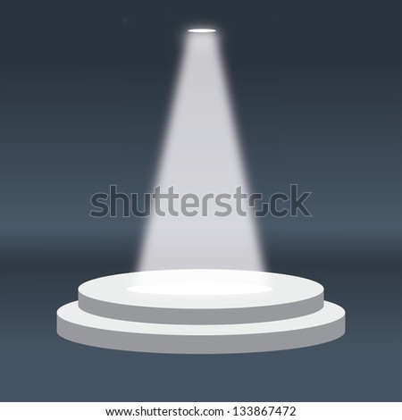 Vector illustration of vector stage with large podium and light in eps 10 - stock vector