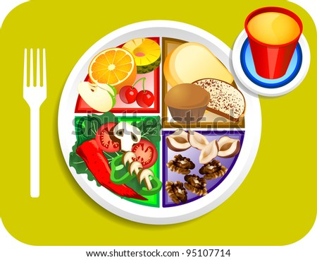 Vector illustration of Vegan or Vegetarian Breakfast items for the new my plate replacing food pyramid. - stock vector