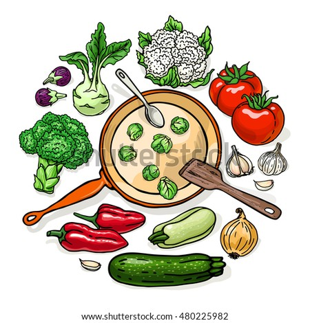 Vector Illustration Of Vegetarian Food Recipes Round Shape Template With Vegetables And Pan Colorful Top
