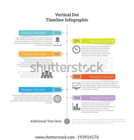 Vector illustration of vertical dot timeline infographic element. - stock vector