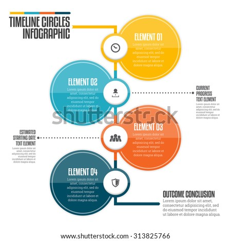 Vector illustration of vertical timeline circle infographic design element. - stock vector