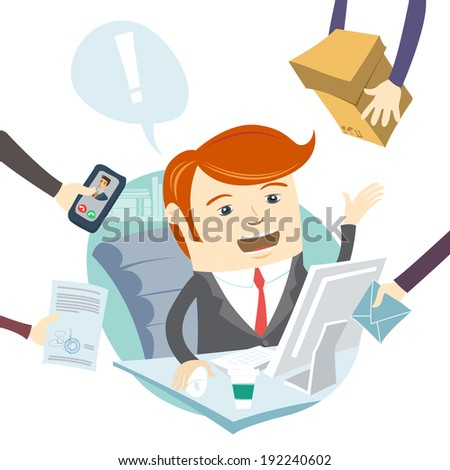 Vector Illustration of  Very busy office man working hard - stock vector