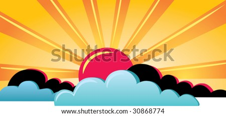 Vector illustration of very hot sun and big clouds.