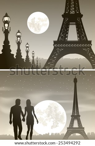 Vector illustration of view of night Paris and couple in love - stock vector
