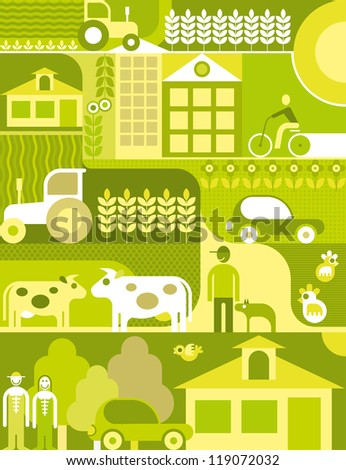 Vector illustration of village landscape. Organic farm. - stock vector
