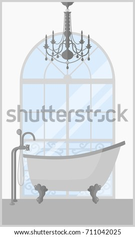 Vector Illustration Of Vintage Bathtub Retro Bathroom With Window And Chandelier