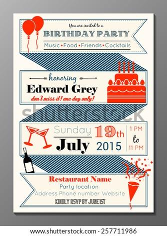 Vector illustration of vintage birthday party invitation card - stock vector