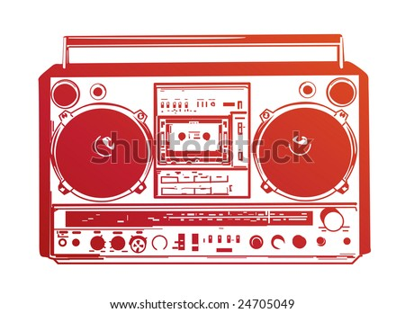 Vector illustration of vintage boombox - stock vector