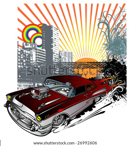 Vector illustration of vintage car against a city - stock vector