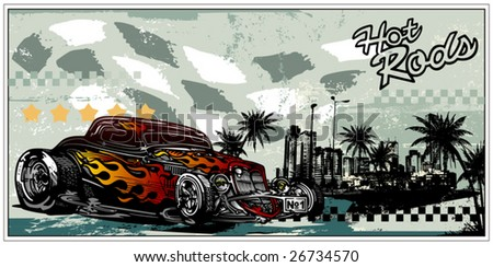 Vector illustration of vintage car against a city and palms - stock vector