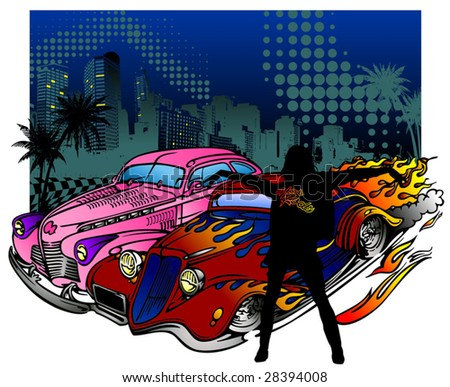 Vector illustration of vintage car and silhouette girl - stock vector