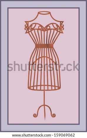 vector illustration of vintage card with wooden mannequin