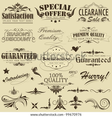 vector illustration of vintage element for premium quality label - stock vector